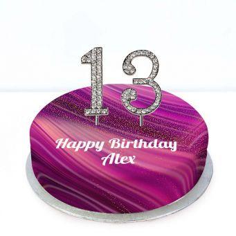 13th Birthday Purple Marble Cake