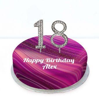 18th Birthday Purple Marble Cake