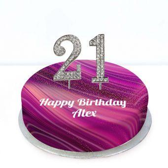 21st Birthday Purple Marble Cake