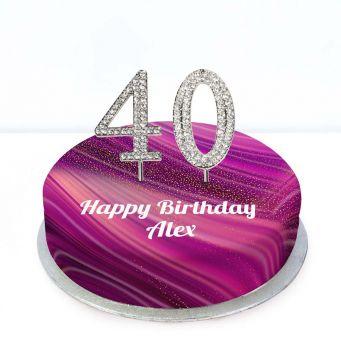 40th Birthday Purple Marble Cake