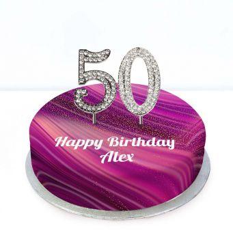 50th Birthday Purple Marble Cake
