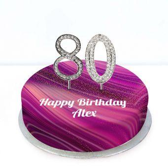80th Birthday Purple Marble Cake