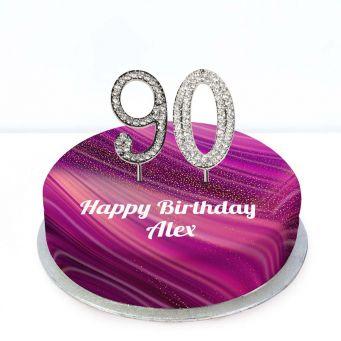 90th Birthday Purple Marble Cake