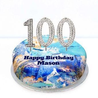 100th Birthday Blue Marble Cake