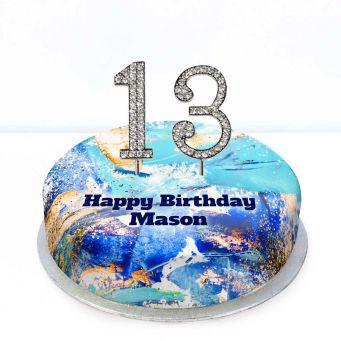 16th Birthday Blue Marble Cake