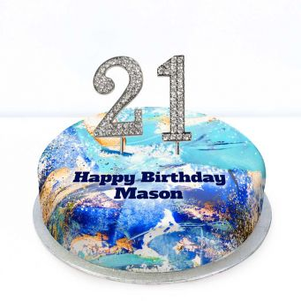21st Birthday Blue Marble Cake