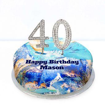 40th Birthday Blue Marble Cake