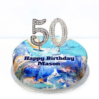 50th Birthday Blue Marble Cake