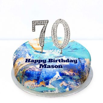 70th Birthday Blue Marble Cake