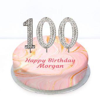 100th Birthday Pink Marble Cake
