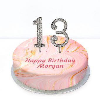 13th Birthday Pink Marble Cake