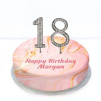 18th Birthday Pink Marble Cake