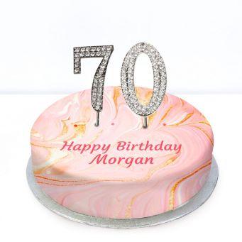 70th Birthday Pink Marble Cake