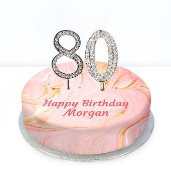 80th Birthday Pink Marble Cake