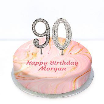 90th Birthday Pink Marble Cake