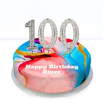 100th Birthday Red Marble Cake