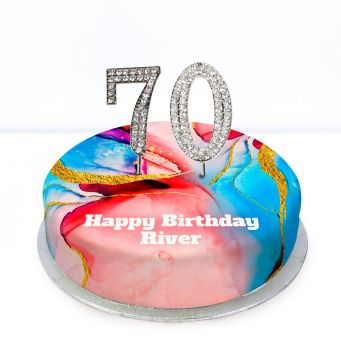 70th Birthday Red Marble Cake