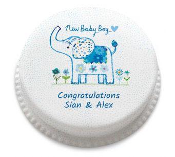 Baby Boy Elephant Cake