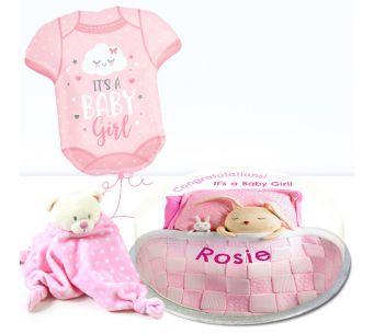 Pink Baby Blanket Gift Set