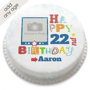 Any Age Birthday Photo Cake