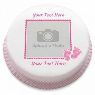 Pink Gingham Photo Cake