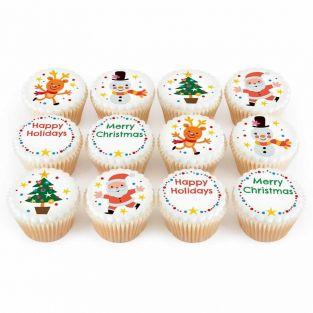12 Christmas Character Cupcakes