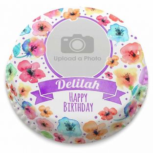 Watercolour Floral Photo Cake