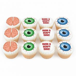 12 Brains & Eyeballs Cupcakes