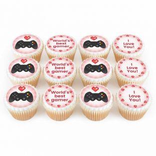 12 Gaming Heart Cupcakes