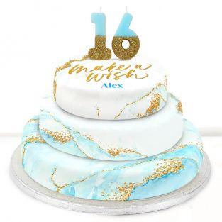 16th Birthday Blue Foil Cake
