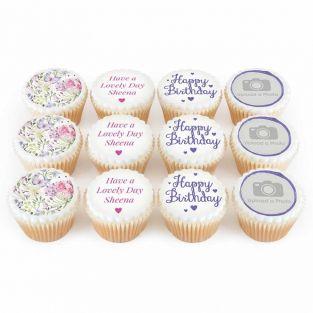12 Purple Flower Birthday Photo Cupcakes
