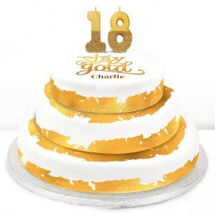 18th Birthday Gold Foil Cake