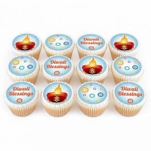 12 Blue Diya Cupcakes
