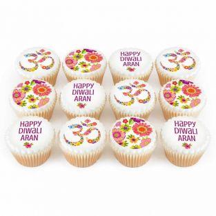 12 Floral Diwali Cupcakes
