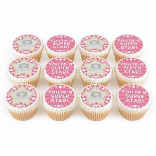 12 Pink Star Photo Cupcakes