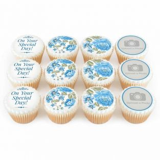 12 Blue Floral Photo Cupcakes