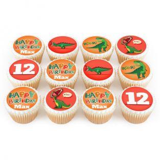 12 Red Dino Cupcakes