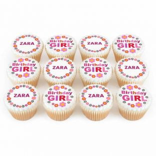 12 Birthday Girl Cupcakes