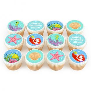 12 Little Mermaid Cupcakes