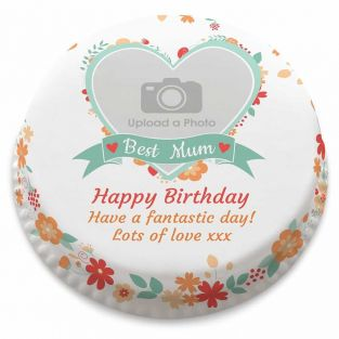 Best Mum Floral Photo Cake