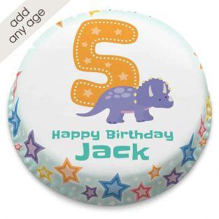 Blue Dinosaur Number Cake