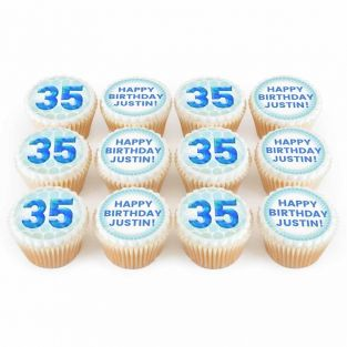 12 Any Age Blue Number Cupcakes