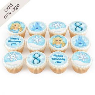 12 Frozen Elsa Themed Cupcakes
