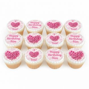 12 Rose Heart Cupcakes