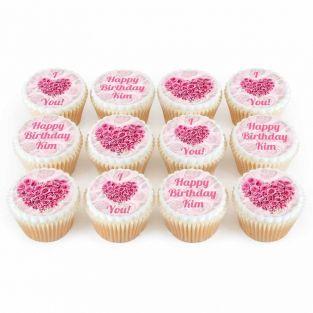 12 Rose Heart Cupcakes