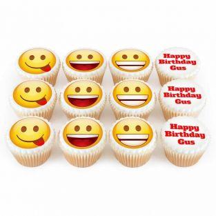 12 Birthday Emoji Cupcakes