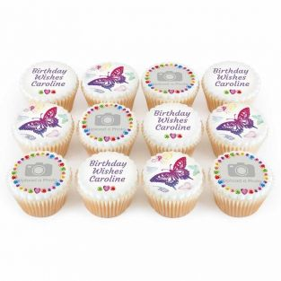 12 Butterfly Photo Cupcakes
