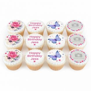 12 Floral Birthday Photo Cupcakes