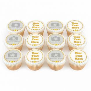 12 Star Photo & Text Cupcakes