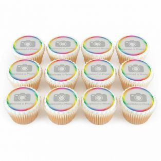 12 Rainbow Swirl Photo Cupcakes